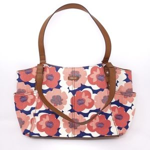 Relic Purse Handbag Floral Pink Blue Canvas